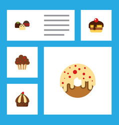 Flat cake set of cake muffin doughnut and other vector