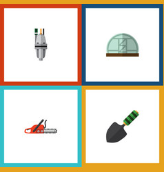 flat icon dacha set of pump hacksaw hothouse and vector image