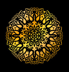 Golden mandala circle pattern vector