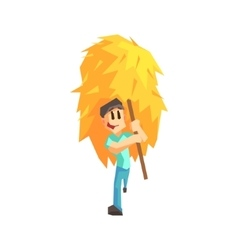 Guy carrying stack of hay vector