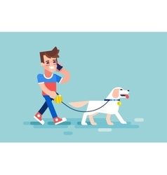 Guy walks his dog and talking on phone vector image