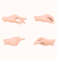 Human palms holding gestures flat set vector