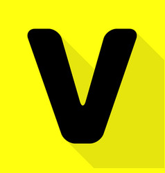 Letter v sign design template element black icon vector