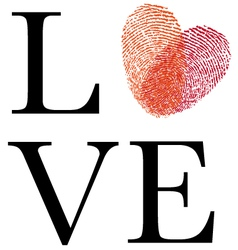 love with red fingerprint heart vector image vector image