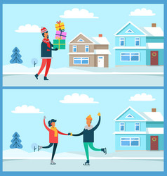 man and presents winter set vector image vector image