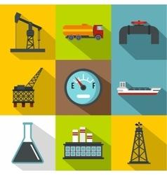 Petroleum icons set flat style vector