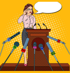 Pop art business woman giving press conference vector