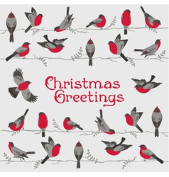 Retro Christmas Card - Winter Birds vector image vector image