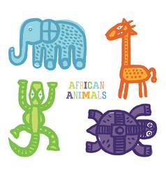 set cute cartoon african animals paintbrush vector image vector image