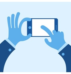 Touch mobile screen in hand concept in blue vector