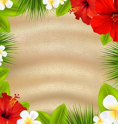 Tropical poster with flowers vector
