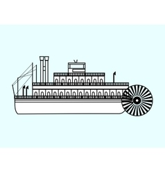 White ship with a water wheel vector image vector image