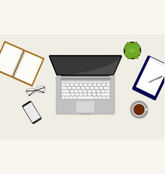 Workspace top view with a laptop vector