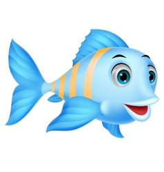 Cute fish cartoon vector image