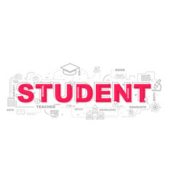 Design concept of word student website banner vector