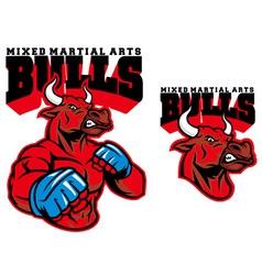 MMA fighter bull vector image