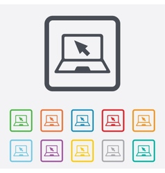 Laptop sign icon notebook pc with cursor symbol vector