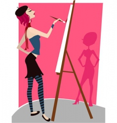 Girl painting vector