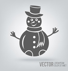Icon snowman isolated black on white background vector