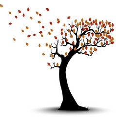 Decorative autumn tree silhouette with brown leave vector