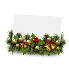 Christmas paper card background with fir twigs vector