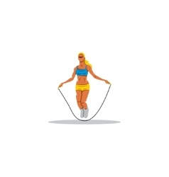 Young girl jumping rope sign vector