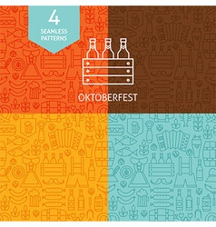 Thin line oktoberfest beer holiday patterns set vector