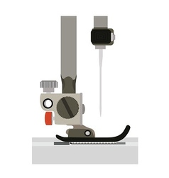 Close up sewing machine head and needle side view vector
