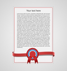 Sheet of paper with red decorative ribbon vector image