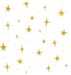 Hand drawn golden stars seamless pattern vector