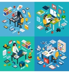 Professional workplace isometric 4 icons square vector
