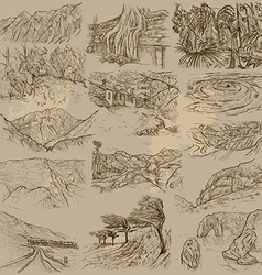 Famous places landscapes and sceneries - freehands vector
