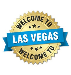 Las vegas 3d gold badge with blue ribbon vector