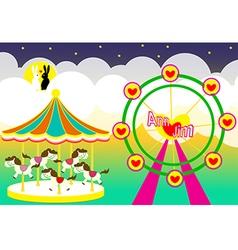 Amusement park wedding backdrop vector