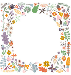 autumn frame with flowers leaves and branches vector image vector image