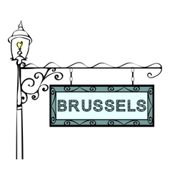 Brussels retro vintage lamppost pointer vector
