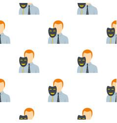 Businessman holding fake mask smile pattern flat vector