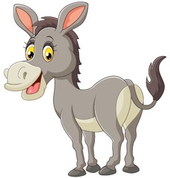 cartoon donkey smile and happy vector image