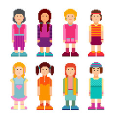 Colorful collection of pixel art female characters vector