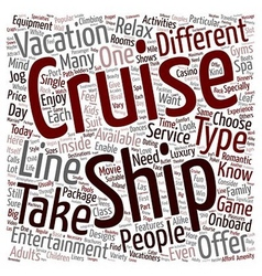 Cruise ship text background wordcloud concept vector