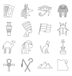 Egypt travel items icons set outline style vector