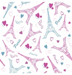Eifel Tower Paris Love Pink Grey Drawing vector image vector image