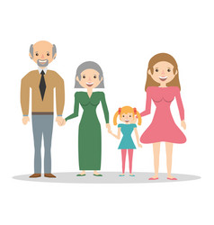 Family grandparents mom and girl vector