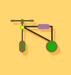 Flat icon design children bicycle in sticker style vector