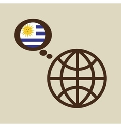 Globe sphere flag uruguay country button graphic vector