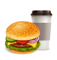 Hamburger and coffee vector image vector image
