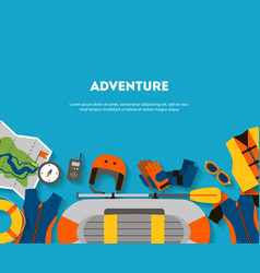 Horizontal banner equipment for outdoor activities vector