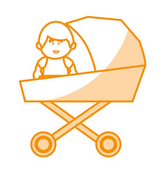 Little baby in cart avatar character vector