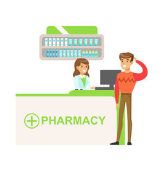 Man in sweater in pharmacy choosing and buying vector