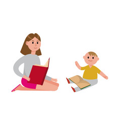 Mother reading a book to her cute son cartoon vector